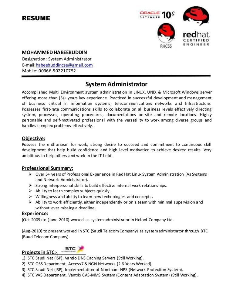 systems administrator resume examples systems administrator