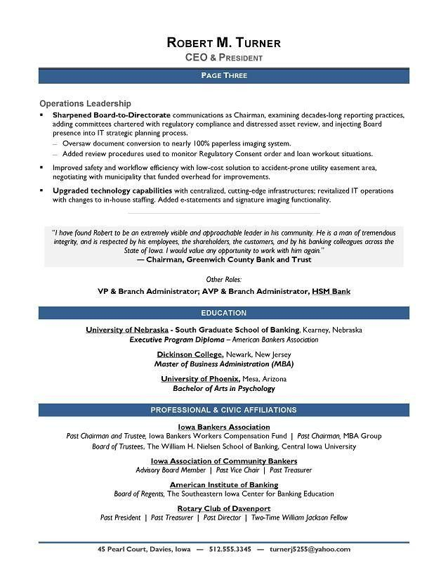 Executive Resume Formats And Examples. Executive Resume Format ...