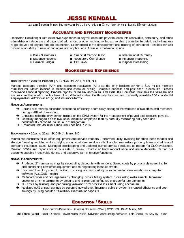 Free Bookkeeper Resume Example