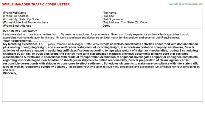 Traffic Manager Cover Letter