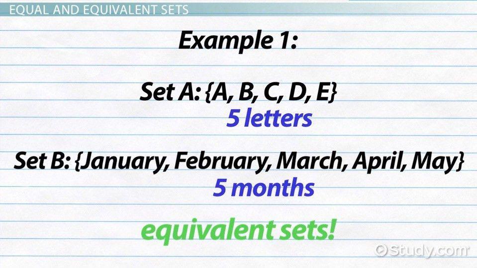 Equivalent Sets: Definition & Example - Video & Lesson Transcript ...