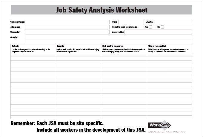 Job Safety Analysis Template - Business Plan Template