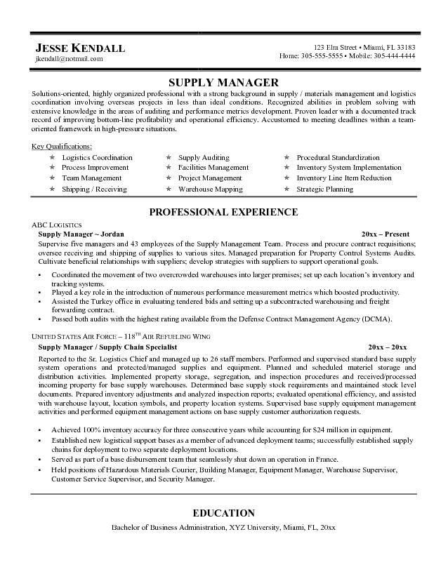 Supply Chain Manager Resume | berathen.Com