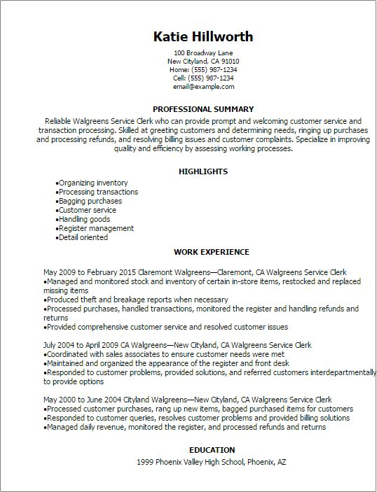 Professional Walgreens Service Clerk Resume Templates to Showcase .