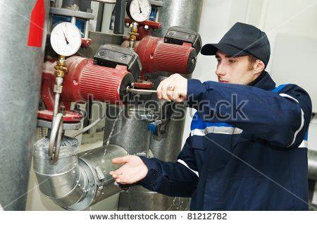 Maintenance Engineer Repairing Water Pump Heating Stock Photo ...