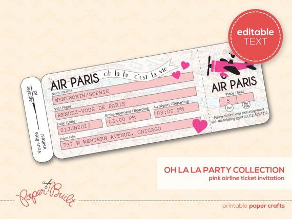 Printable Paris Party Airline Ticket Invitation (Customized) from ...