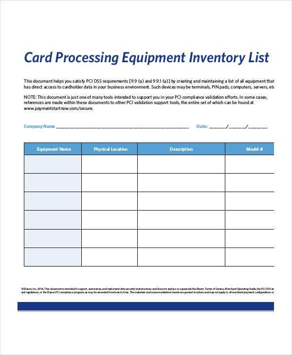 Equipment Inventory List Templates - 9+ Free Word, PDF Format ...