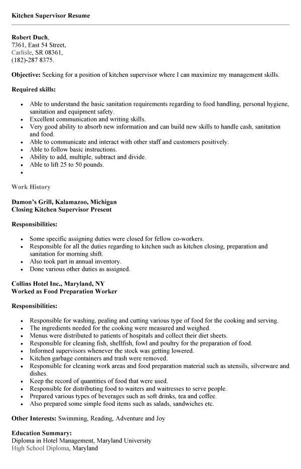 Sample Resume For Kitchen Hand Cooking