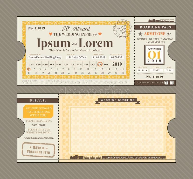 Vector Train Ticket Wedding Invitation Design Template Stock Photo ...