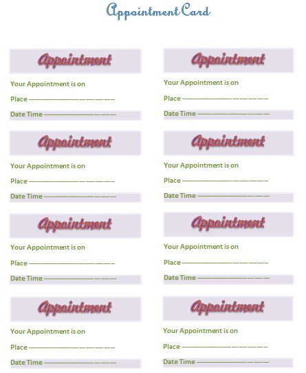 Appointment Card Template - Templates for Microsoft® Word