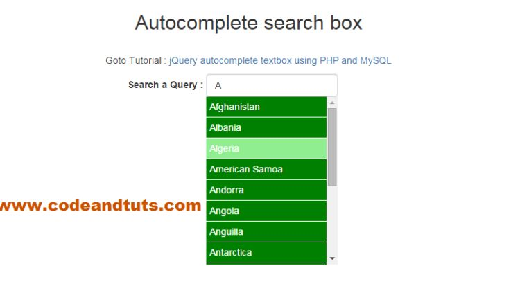 Jquery Ajax Autocomplete Example Using PHP and MySQL