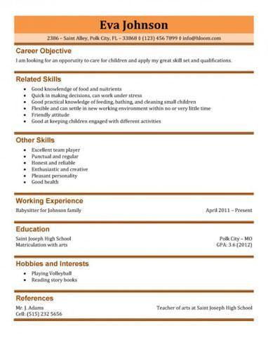 Download Babysitter Resume Sample | haadyaooverbayresort.com