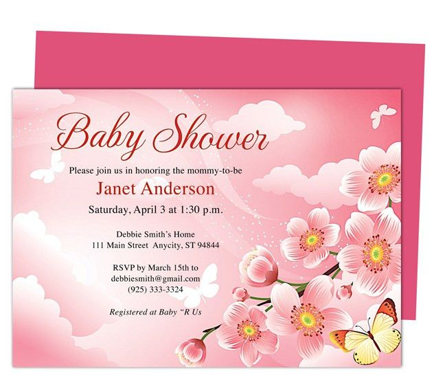 Baby Shower Invitations Templates: Butterfly Kisses Shower ...