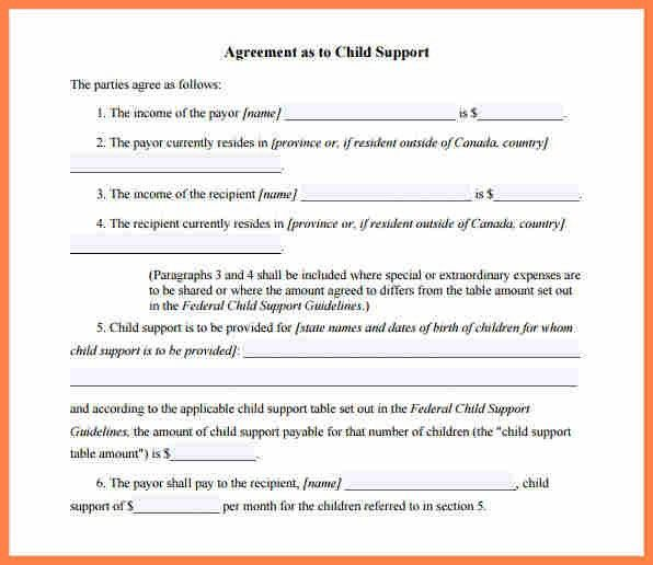 7+ child support payment agreement template | Purchase Agreement Group