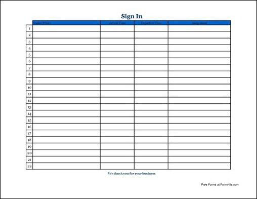 Sign In Sheet Templates - Find Word Templates
