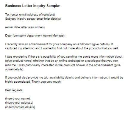 Business Letter Inquiry Sample | Just Letter Templates