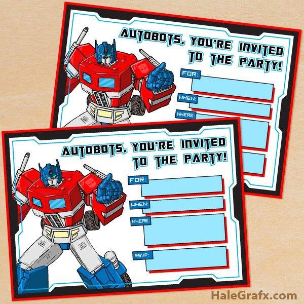 Printable G1 Transformers Birthday Invitation