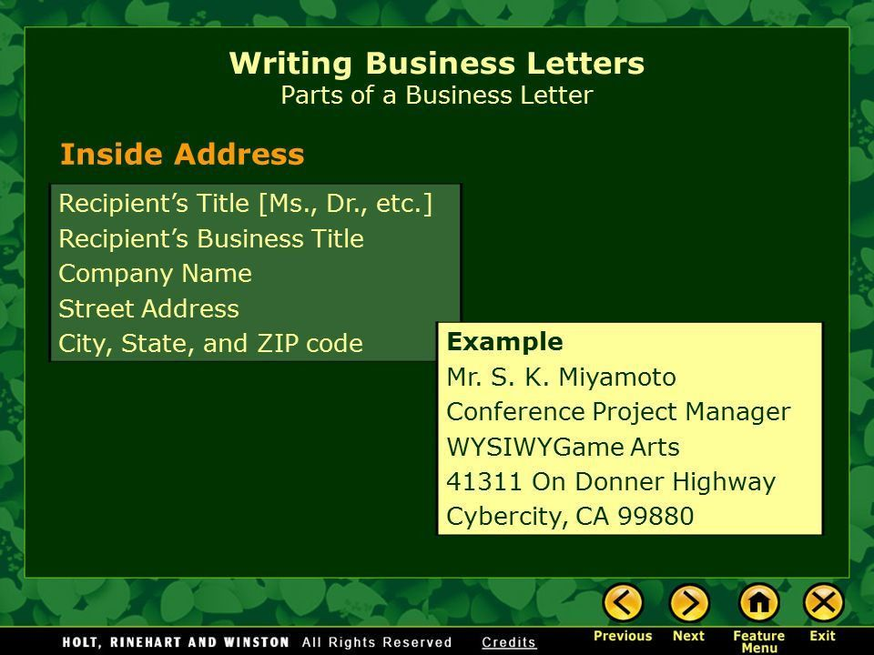Writing Business Letters Elements of a Business Letter Parts of a ...