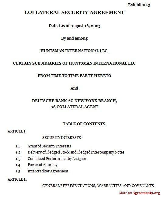 Security Agreement. Subordination And Intercreditor Agreement 6+ ...