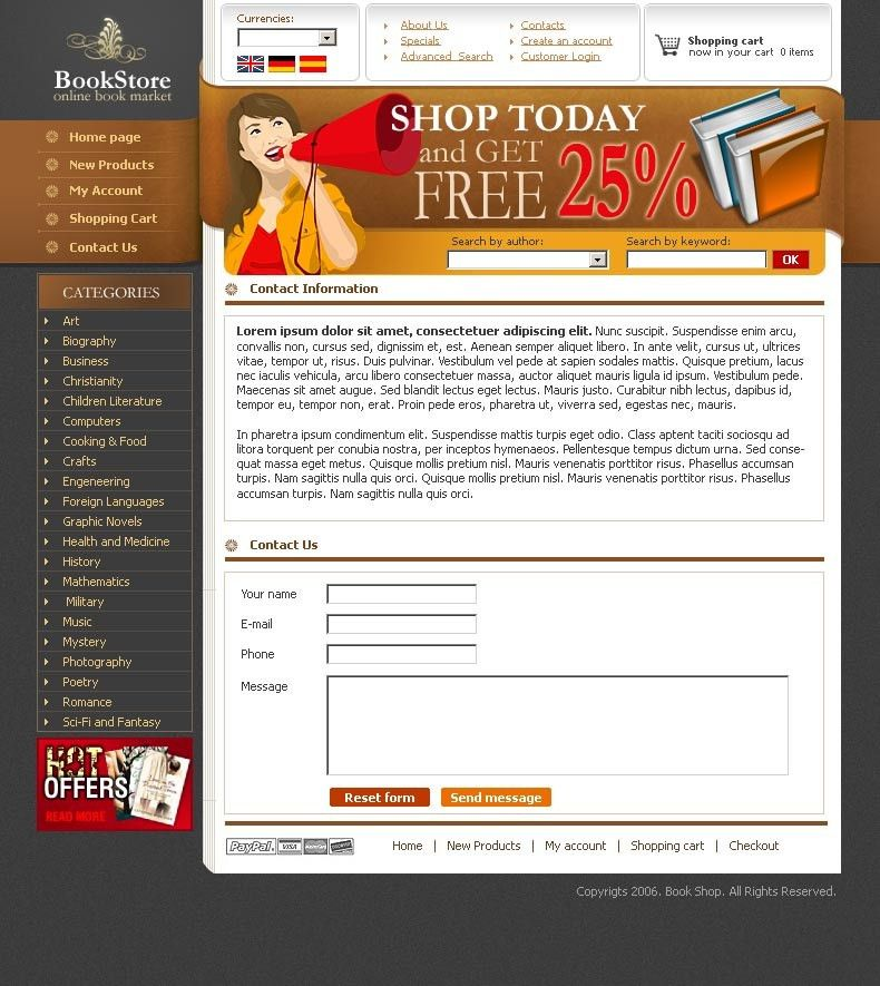 Book store - HTML template ID:300109751