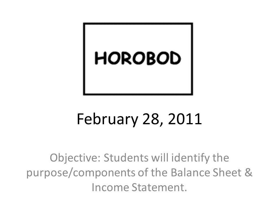 February 28, 2011 Objective: Students will identify the purpose ...