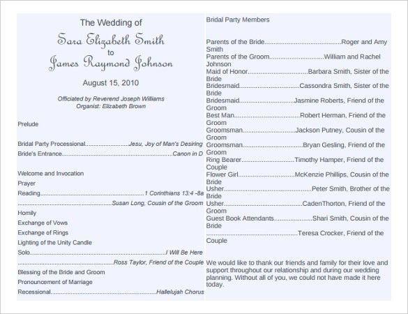 free wedding program word templates | Wedding Bulletin Templates ...