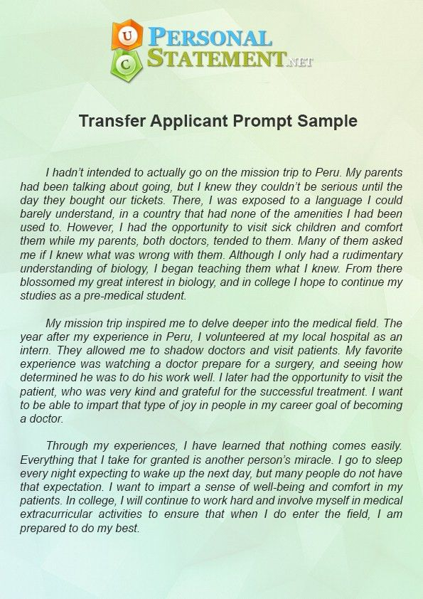UC Personal Statement Prompt 1 Example