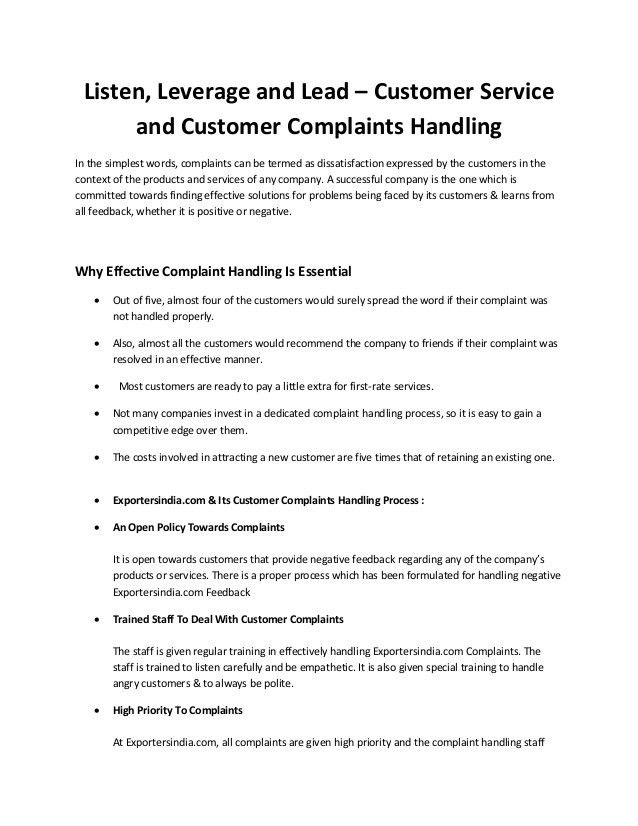 Customer Service and Customer Complaints Handling by exportersindia