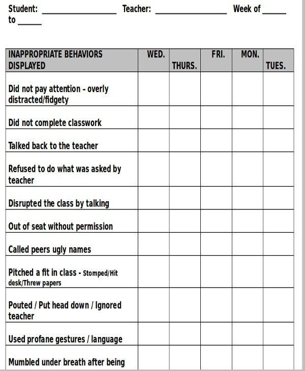 8+ Printable Behavior Chart Template - 9+ Free Word, PDF Format ...