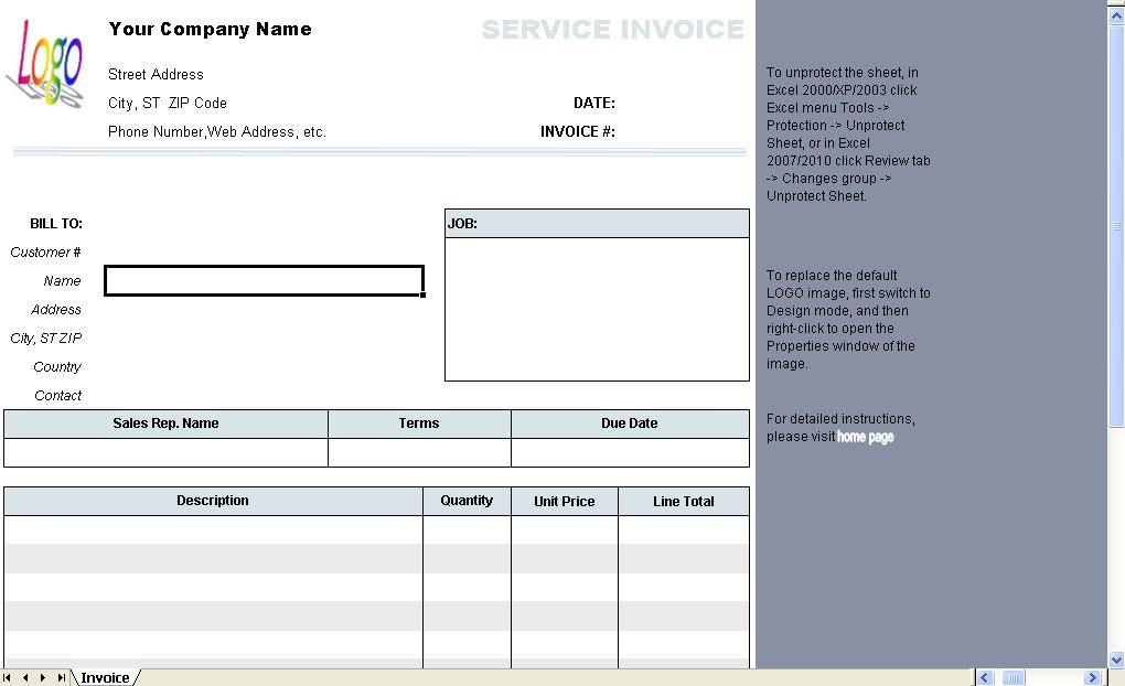 General Service Invoice Template - Uniform Invoice Software