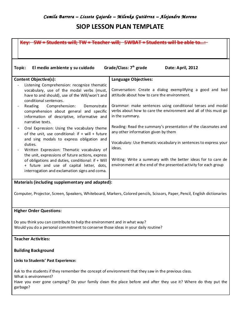 Siop unit lesson plan template sei model | Once a teacher always a ...