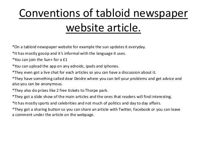 Conventions of a newspaper article ireneeee