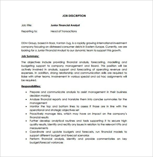 Financial Analyst Job Description Template – 9+ Free Word, PDF ...