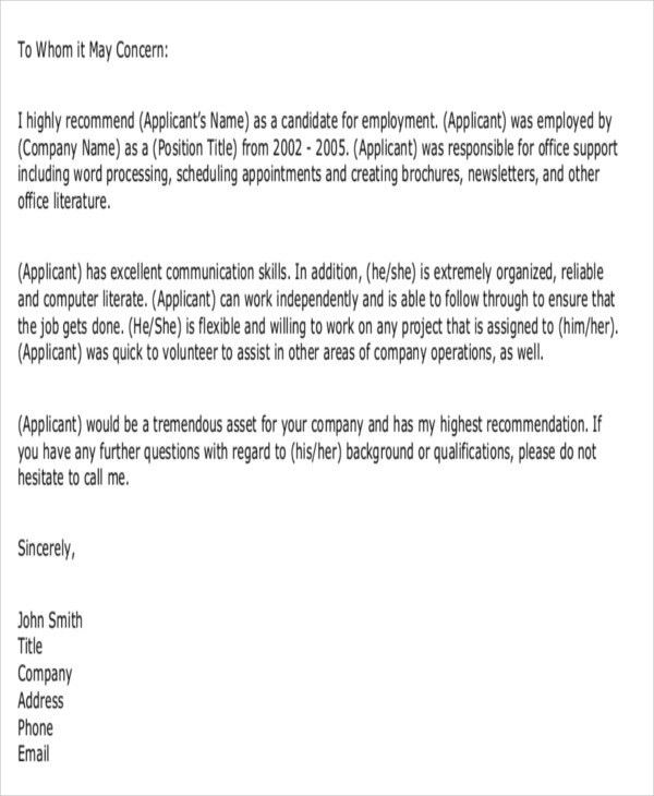 7+ Formal Reference Letter Templates - Free Word, PDF Format ...
