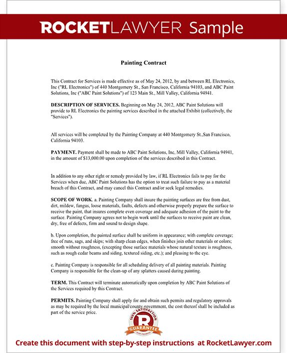 Painting Contract - Free Contract for Services Template (with Sample)