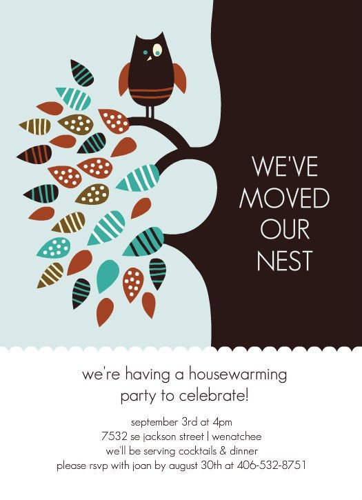 Owl Housewarming Party Invite | Home is wherever I'm with you ...