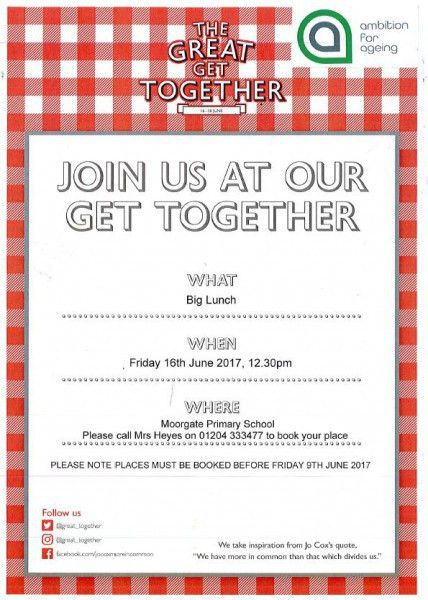 The Great Get Together - Lunch Invite for local residents aged 50 ...