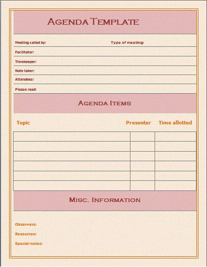 meeting agenda template word | Professional Templates - Part 4