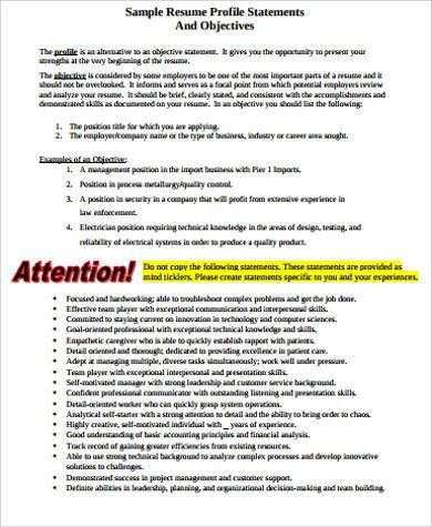 7+ Sample Resume Objective Statement - Free Sample, Example ...