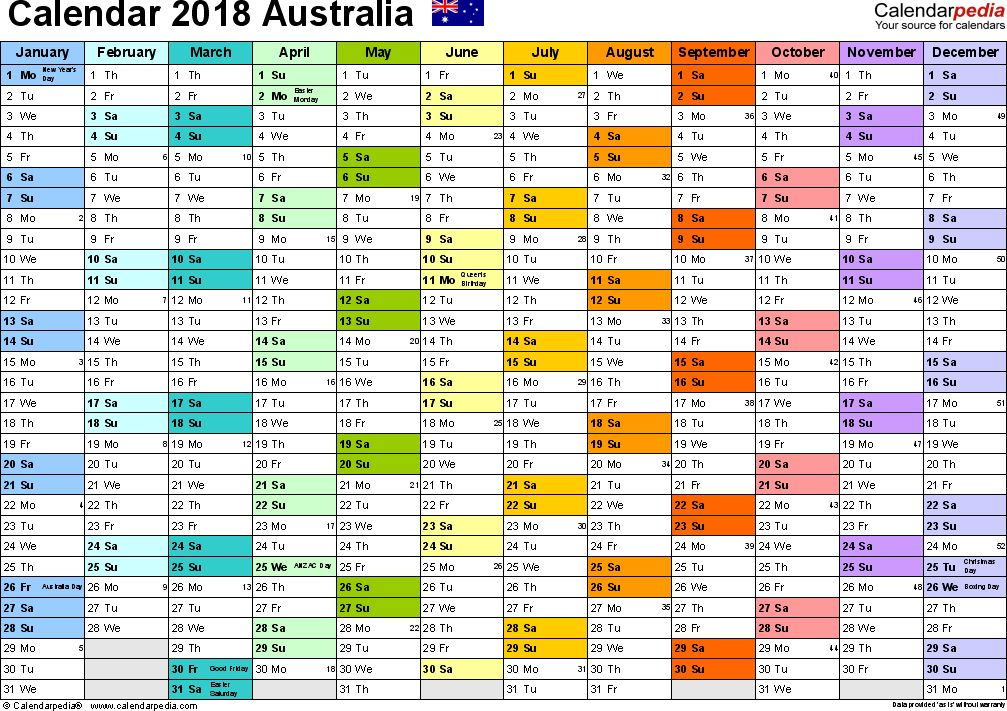 Australia Calendar 2018 - Free Word Calendar Templates