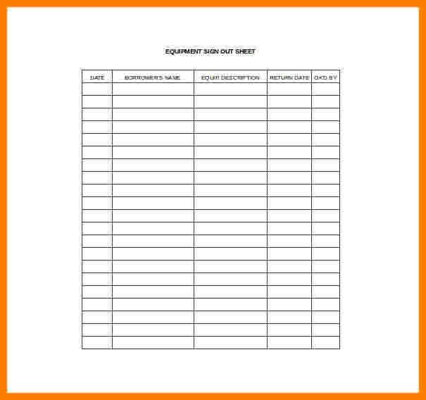Sign Out Sheet Template. 8+ Equipment Sign Out Sheet | Teen Budget ...