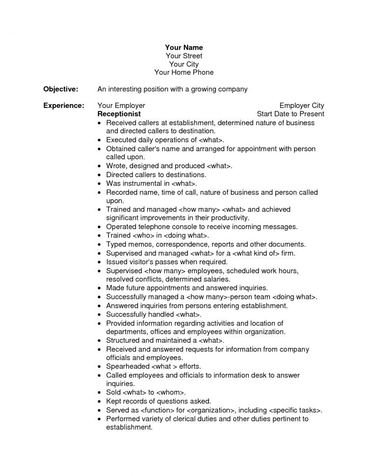 junior receptionist resume