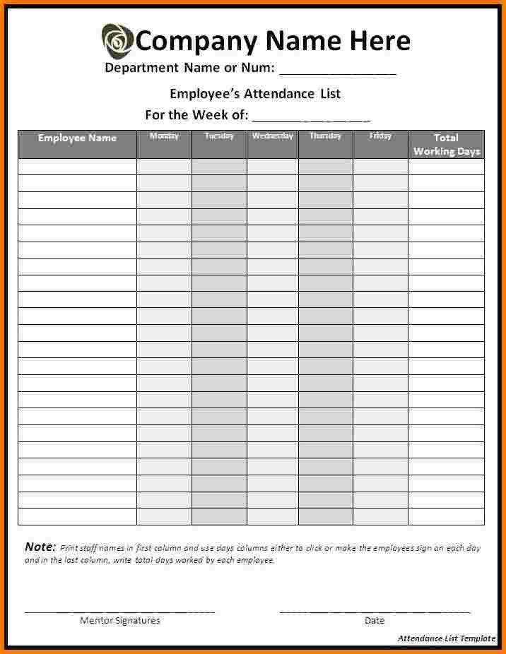 6 attendance list | Receipt Templates