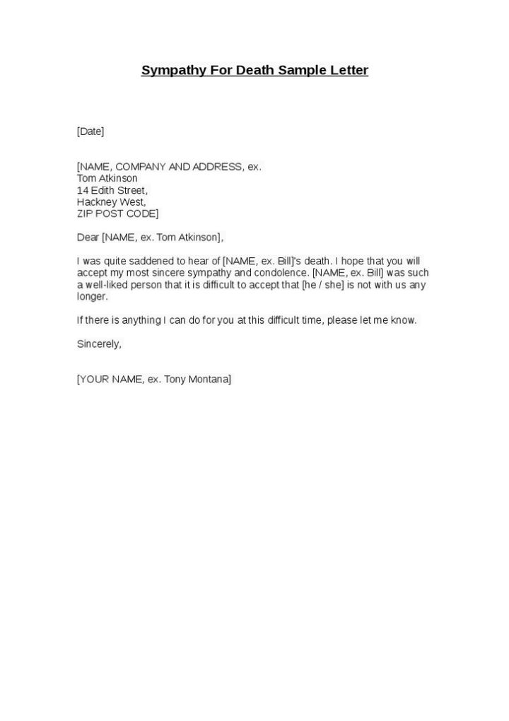 Simple Sample Condolence Letter | Docoments Ojazlink