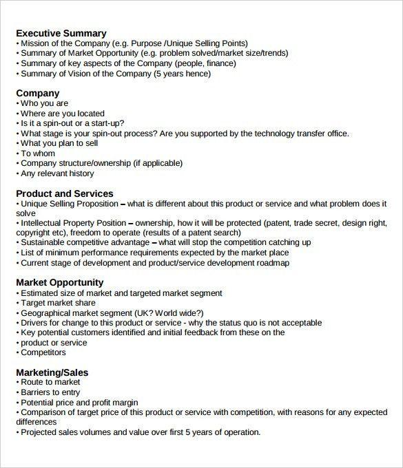 Business Plan Executive Summary Company Template PDF : Selimtd