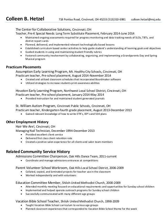 sample resume for kindergarten teacher sample teacher resumes ...