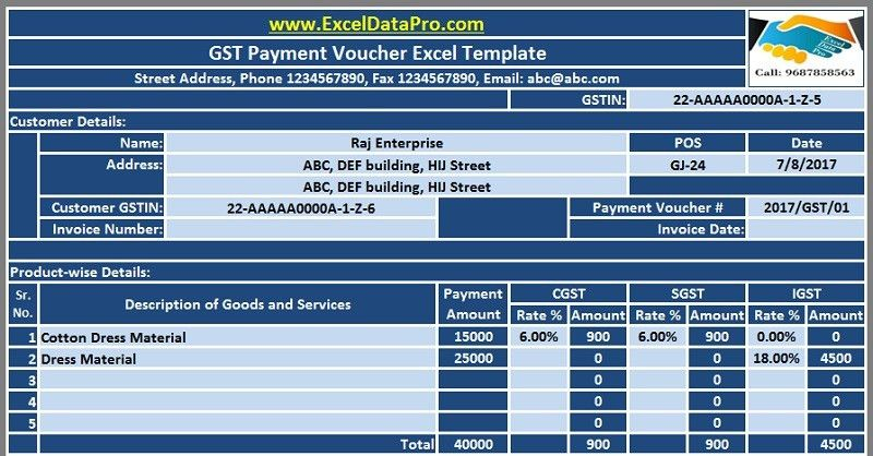 Download GST Payment Voucher Excel Template for Payments Under ...