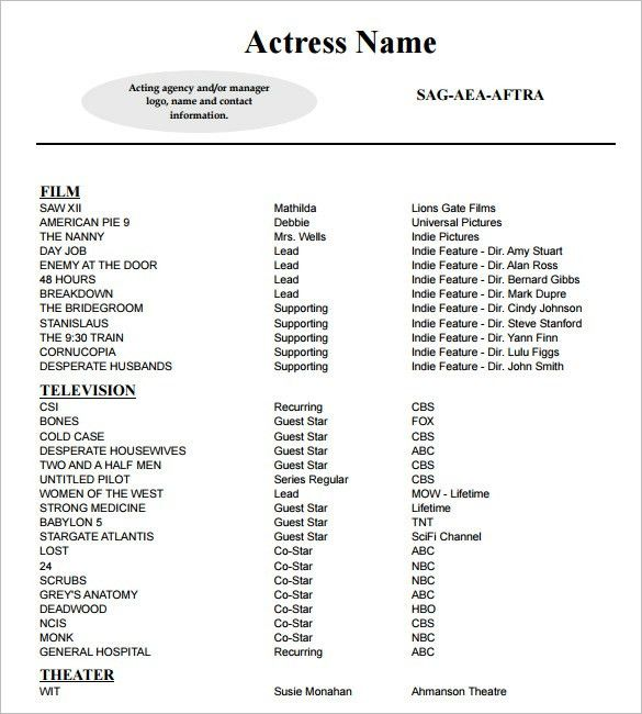 10+ Acting Resume Templates - Free Samples, Examples, & Formats ...