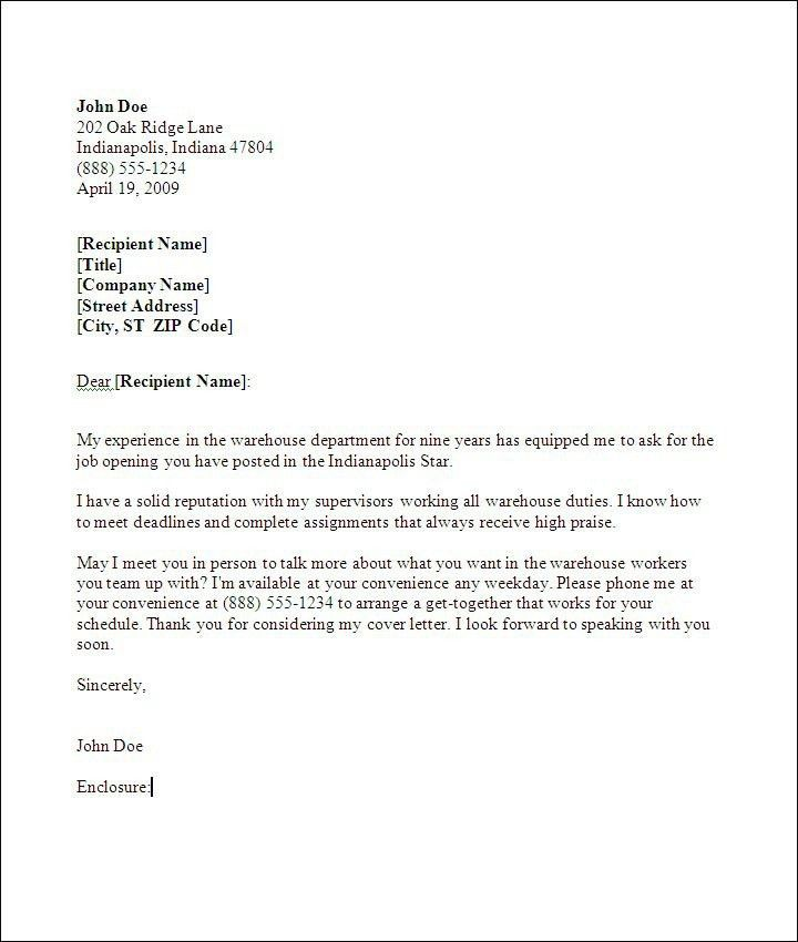 Warehouse Worker Cover Letter | Best Business Template
