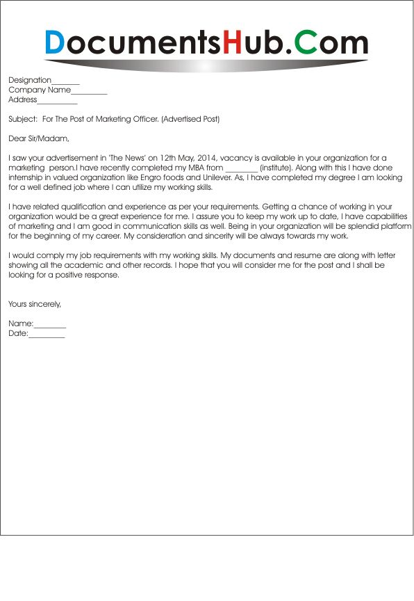 sample cover letter for marketing job
